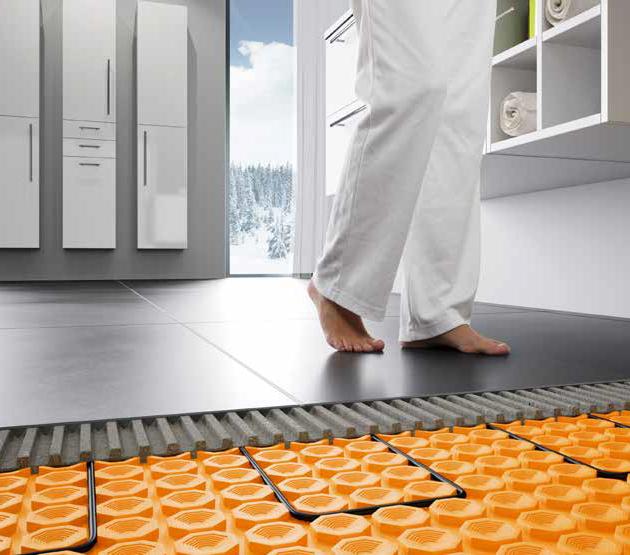 Elektriskās siltās grīdas paklājs DITRA-HEAT zem flīžu vai dabīgā akmens, elastīgiem vai tekstila segumiem un lamināta vai daudzslāņu parketa segumiem.