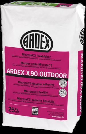 Elastīgā flīžu līme ARDEX X90 OUTDOOR ar MicroteC3 ātri cietējoša ar pagarinātu līmes atvērto laiku, bez noslīdēšanas. Iekštelpām un āra darbiem