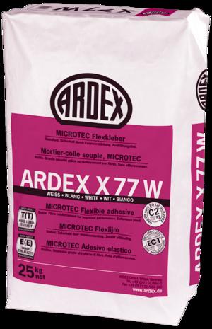 Balta elastīgā flīžu līme ARDEX X77W MICROTEC ar divreiz lielāku atvērto līmes laiku un divreiz lielāku noturību pret noslīdēšanu