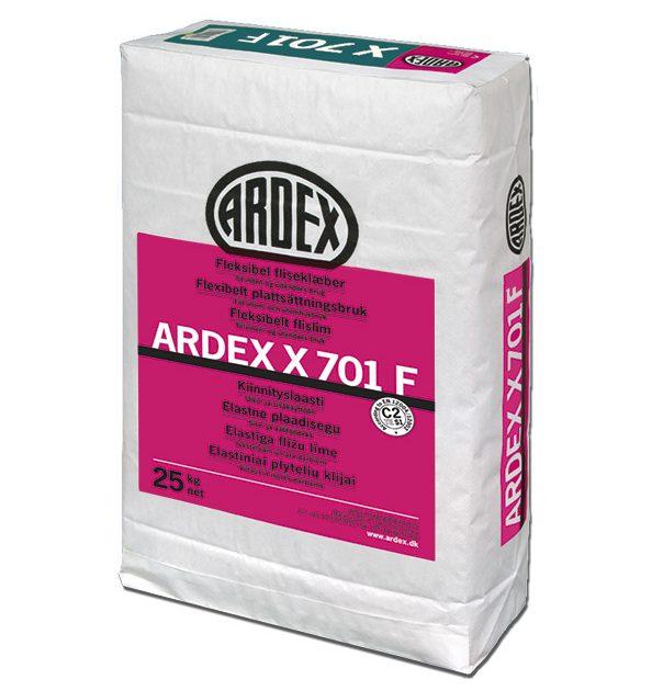 Elastīga flīžu līme ARDEX X701 F sala un laika apstākļus izturīga, iekštelpām un āra darbiem, sienām un grīdām. Ar samazinātiem kaļķa izsvīdumiem