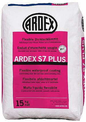 Elastīga hidroizolācija ARDEX S 7 Plus sienu un grīdu virsmu hidroizolācijai zem flīžu un plākšņu seguma. Terasēm, balkoniem, peldbaseiniem