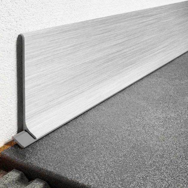 Metāla grīdlīste DESIGNBASE-SL ir no krāsota vai anodēta alumīnija un DESIGNBASE-SL-EB no skrāpēta nerūsējošā tērauda
