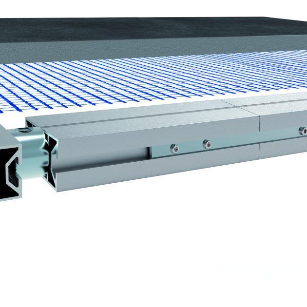Alumīnija rāmju sistēma TerraMaxx RS plāksnēm un dēļiem ir stabila alumīnija profilu konstrukcija ļoti liela izmēra flīžu un terašu dēļu montāžai