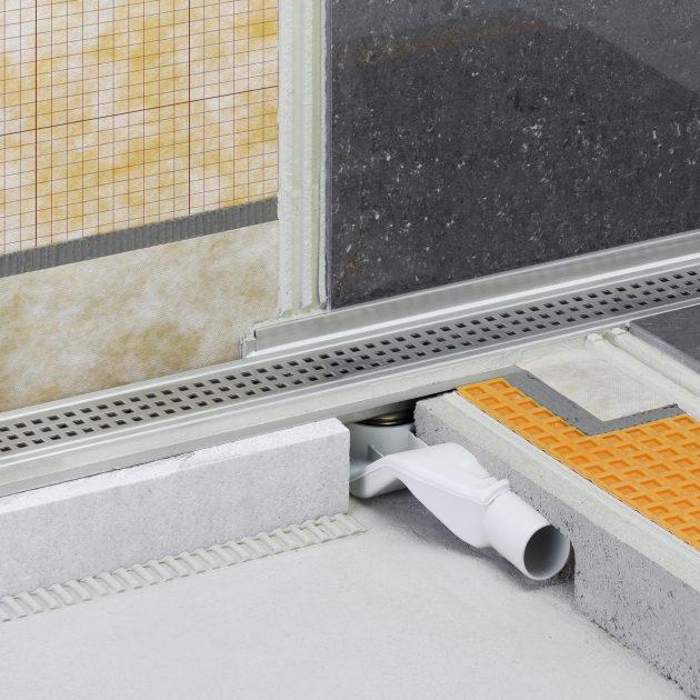 Dušas kanāls Schluter KERDI-LINE-F40 ar horizontālu izvadu ir vairāku detaļu komplekts grīdas līmeņa dušas kanāla ierīkošanai.