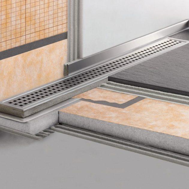 Dušas kanāls Schluter KERDI-LINE-V/-VS/-VOS ar vertikālu izvadu ir vairāku detaļu komplekts grīdas līmeņa dušas kanāla ierīkošanai ar fiksētu augstumu.