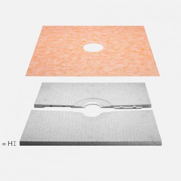Grīdas līmeņa dušas paliktnis KERDI-SHOWER-T ar > 2% kritumu (izņemot paliktni ar izmēriem 180 x 90 cm) ar centrā izvietotu vietu dušas trapam.