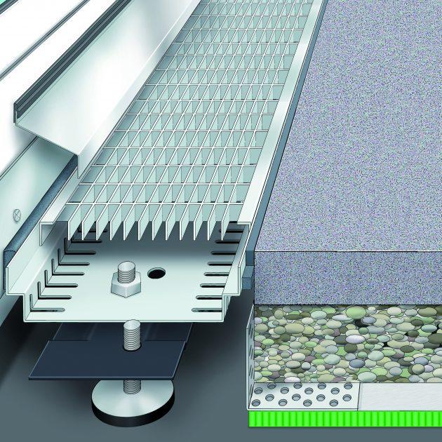 Lietus ūdens drenāžas kanāls AquaDrain KR/KRU speciāli izstrādāts ātrai un vieglai montāžai virs grants/šķembu (oļu/šķembu) kārtas vai javas piku atbalsta.