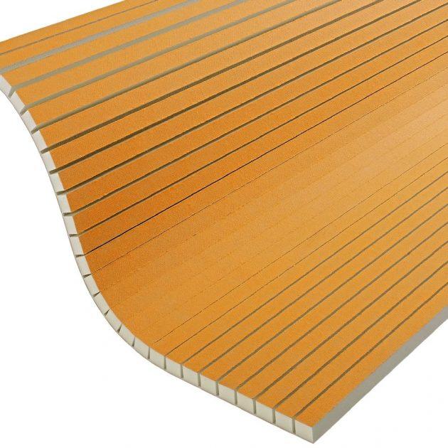 Mitrumizturīga celtniecības plāksne Schluter KERDI-BOARD-V noapaļotu un liektu konstrukciju un virsmu izgatavošanai ar paralēliem iegriezumiem