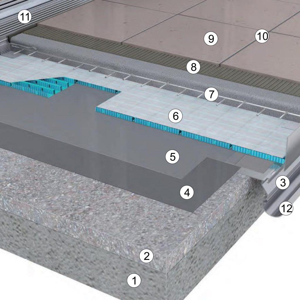 Balkona izbūve ar ruļveida hidroizolāciju un uz betona klona līmētām flīzēm